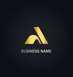 shape gold a initial company logo vector image