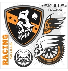 Skulls and car racing symbols vector