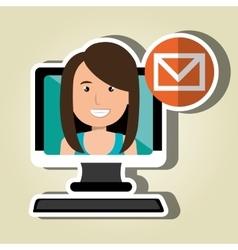 Social marketing user desktop computer isolated vector