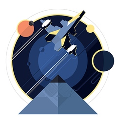 Spacecraft spaceship in space vector