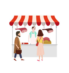 Street food meat market talls canopy and products vector