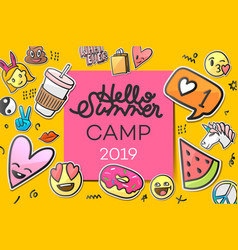 summer camp 2019 for kids creative and colorful vector image