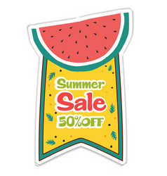 summer sale 50 off ribbon water melon background vector image