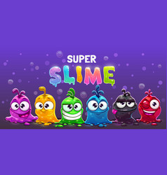 super slime horizontal banner funny cute cartoon vector image