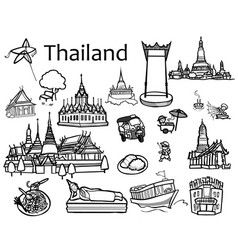 thailand attractions icon and vector image vector image