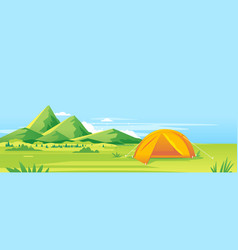 tourist tent camping mountains vector image