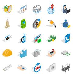 trading house icons set isometric style vector image