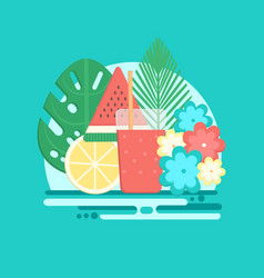 Tropical cocktails with fresh fruits in flat style vector