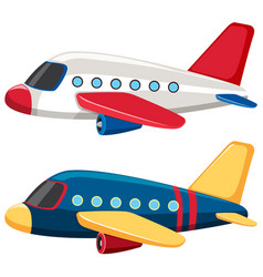 Two airplanes with blue and white colors vector
