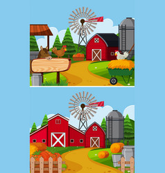 Two farm scenes with barn and animals vector