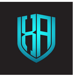 Xa logo monogram with emblem shield design vector