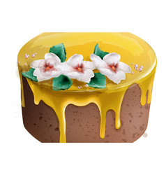yellow cake watercolor special dessert chocolate vector image