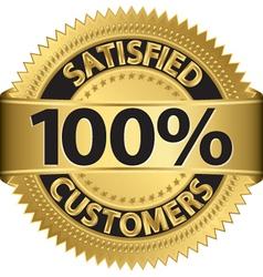 100 percent satisfied customers golden label vector image