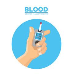 blood hand diabetes test vector image