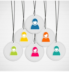 Colorful hanging team members badges vector image vector image