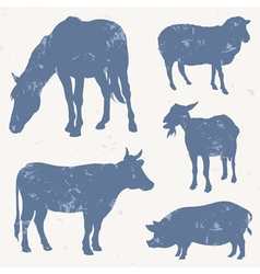 Farm animals with grunge effect vector image
