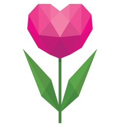 Flower in the form of heart in the style of low po vector image vector image