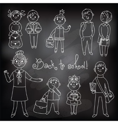 The teacher with the students Drawing chalk vector image