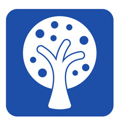 blue white sign - stylized tree with fruits icon vector image vector image