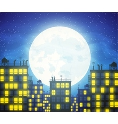 city skylines with cloudy moonlight vector image