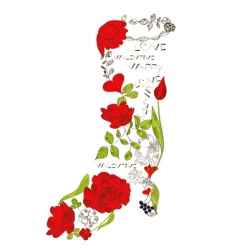 floral boots vector image vector image