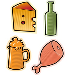 objects of drink and food vector image vector image