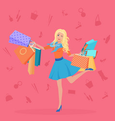 pretty young blond with the shopping bags vector image vector image