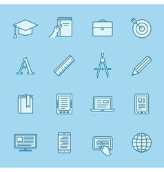 Remote education icons vector image vector image