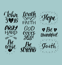 set of 9 hand lettering christian quotes god loves vector image vector image