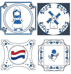 dutch tiles hand drawn vector image