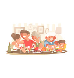 happy family at dinner table vector image