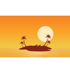 Islands scnery at sunrise of silhouettes vector image vector image