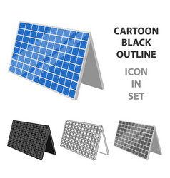 solar panel icon in outline style isolated on vector image vector image