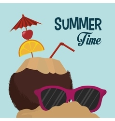 summer time coconut cocktail sunglasses sand vector image vector image