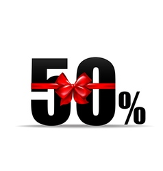 Number 50 percent for discount and sale with red vector image