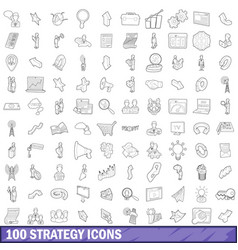 100 strategy icons set outline style vector