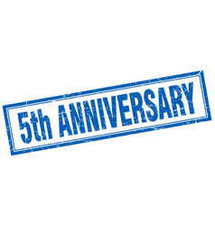 5th anniversary square stamp vector