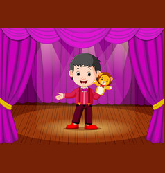 A boy playing puppet in the stage vector