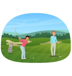 a person making a shot playing the golf while his vector image