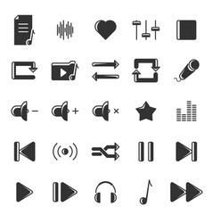 a set of black icons relating to music and its vector image