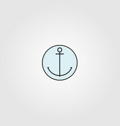 Anchor silhouette logo wave background design vector