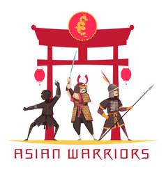 asian warriors concept vector image