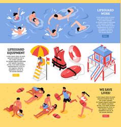 Beach lifeguards horizontal banners vector