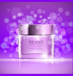 beauty cream on purple bubbles background skin vector image
