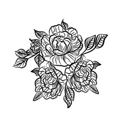 Black and white drawing of a rose tattoo vector