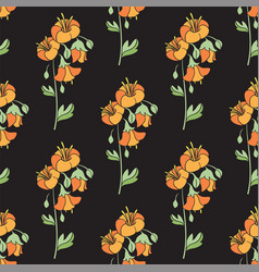 Black floral seamless pattern with orange flowers vector