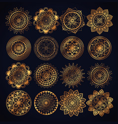 Boho style golden mandala set icons vector