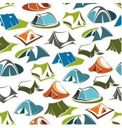 camping tents seamless pattern vector image