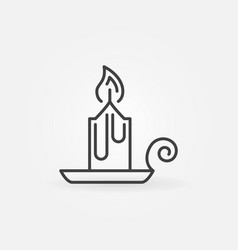 Christmas candle line icon candlestick vector