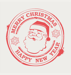 christmas print with cute santa claus with text vector image